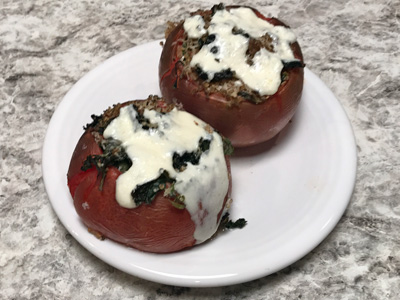 Kale-basil-and-quinoa-stuffed-tomatoes