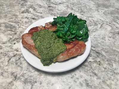 carrot-parlsey-chimmichuri-with-pork-chop-and-sauted-kale