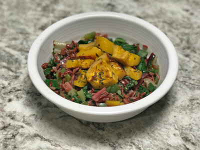 sauteed-swiss-chard-rice-with-roasted-delicata-squash